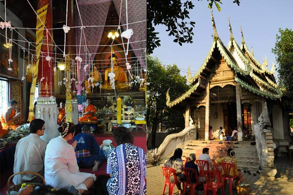 Simple celebrations at Wat Phan Waen in Chiang Mai's old city