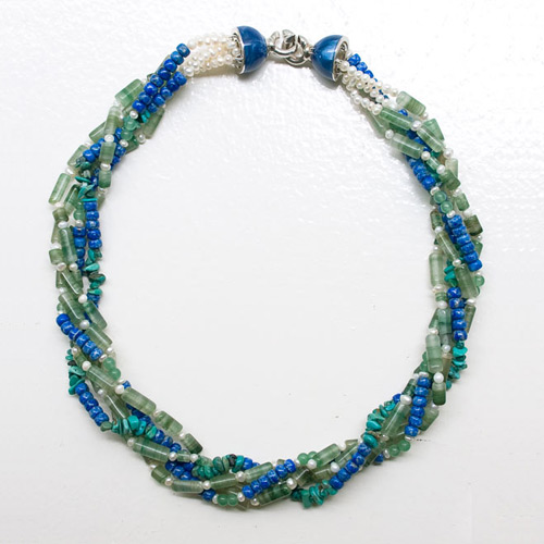 Sodalite, turquoise and aventurine necklace, 'Aqua Voice' © Ezistock Co., Ltd.
