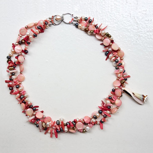 Pearl, MOP and coral necklace, 'Red Ocean' © Ezistock Co., Ltd.