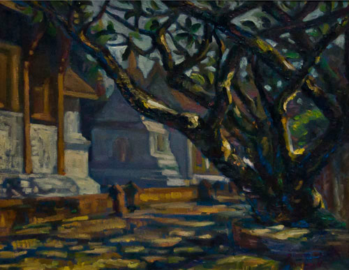 Oil on canvas, 'Prasart Temple' © Akkpoup Prukpeeti
