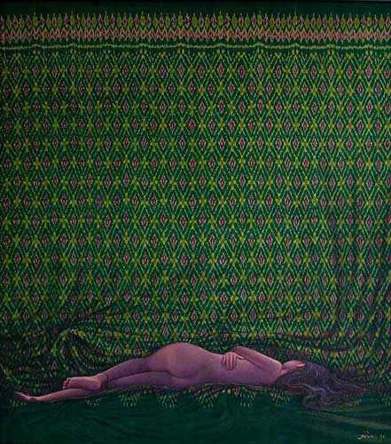 Acrylic on Thai silk, 'Sleeping Naked' © Pimon Singhasin