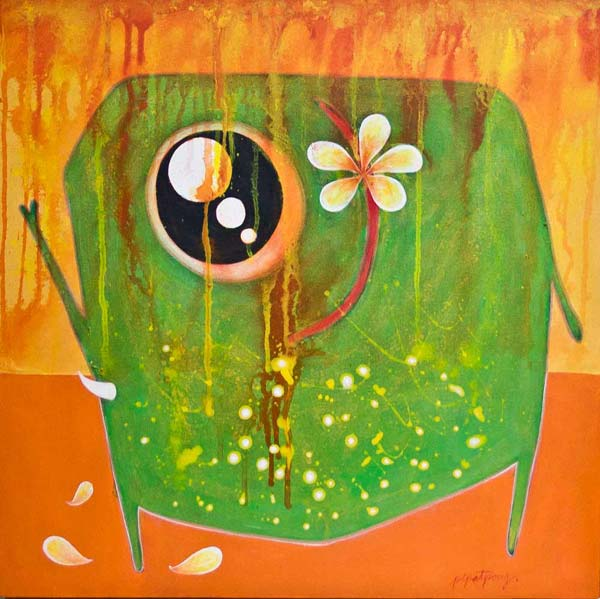 Acrylic on canvas, 'Elephant Coquette' © Pipatpong Kandech