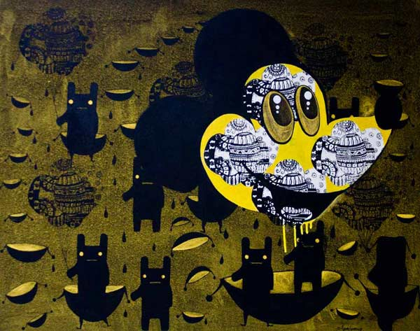 Acrylic on canvas, 'Mickey Mouse' © Pipatpong Kandech