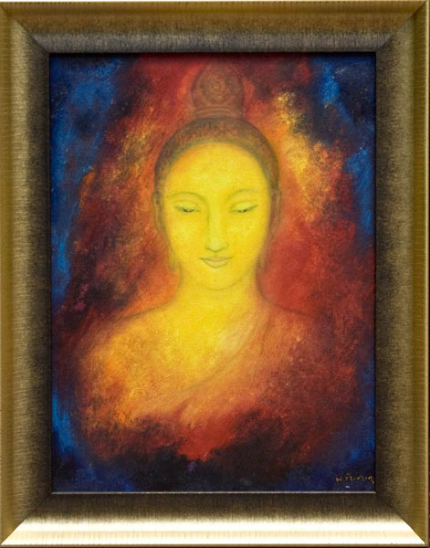 Oil on canvas, 'Buddha Face 2' © Nawapoomin Chaichompoo