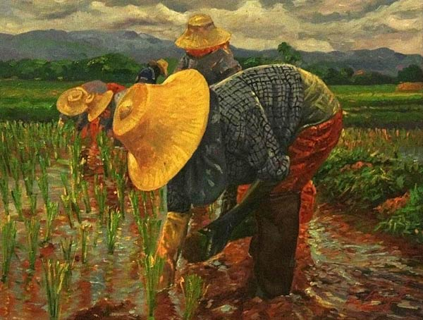 Oil on canvas, 'Thai farmer 2' © Tan Waphet