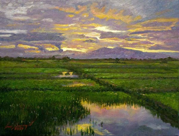 Oil on canvas, 'Sunset' © Tan Waphet