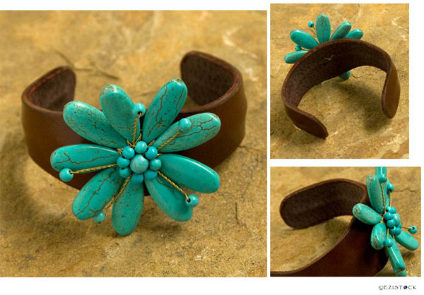 Leather and resin bracelet, 'Sky Flower' © Ezistock Co., Ltd.