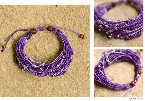 Nylon and silver bracelet, 'Purple Rains' © Ezistock Co., Ltd.