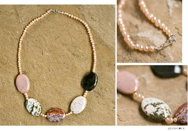 Jasper and pearl necklace, 'Earth and Sea' © Ezistock Co., Ltd.
