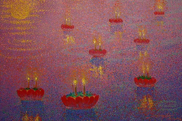 Acrylic on canvas, 'Loy Krathong' © Innop Wonga Nut