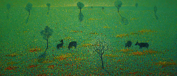 Acrylic on canvas, 'Flowers field' © Innop Wonga Nut