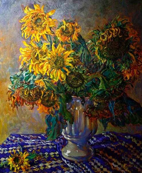 Oil on canvas, 'Bouquet of Sunflowers' © Komsan Poompanya