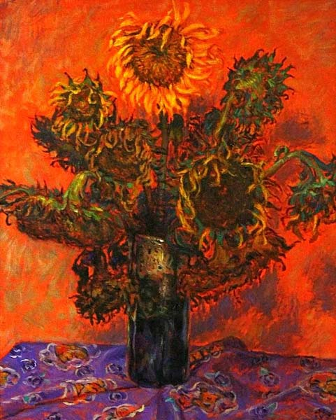 Oil on canvas, 'Sunflowers in a Vase' © Komsan Poompanya