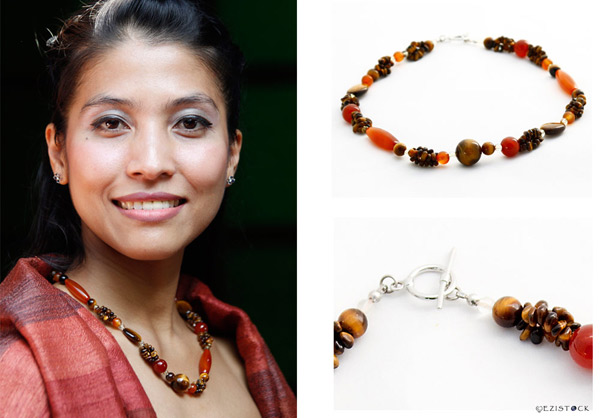 Carnelian and tiger eye necklace, 'Solar Eruption' © Ezistock Co., Ltd.