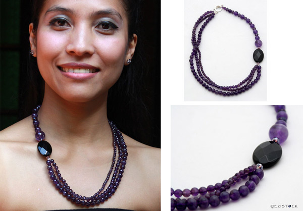 Amethyst and black agate necklace, 'Lilac Song' © Ezistock Co., Ltd.