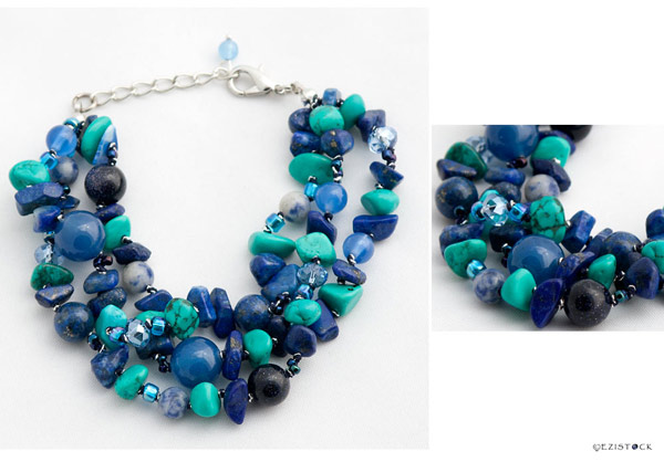 Turquoise, lapis lazuli and agate bracelet, 'Blue Bouquet' © Ezistock Co., Ltd.