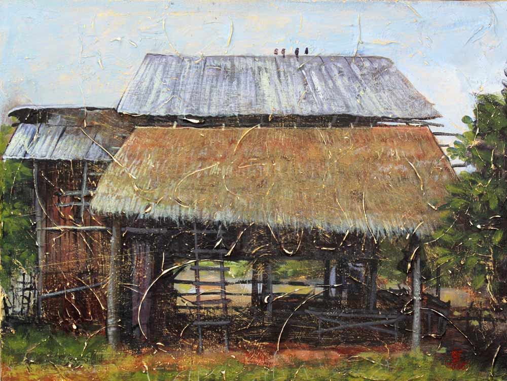 Acrylic on canvas, 'Hut 2' © Jakgrit Mooninta