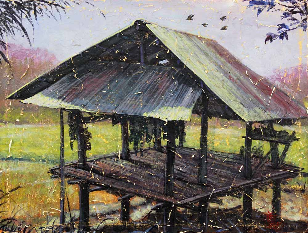 Acrylic on canvas, 'Hut 4' © Jakgrit Mooninta
