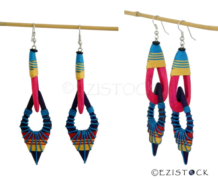 Kapok wood earrings, 'Cheerful Day' - Click Image to Close