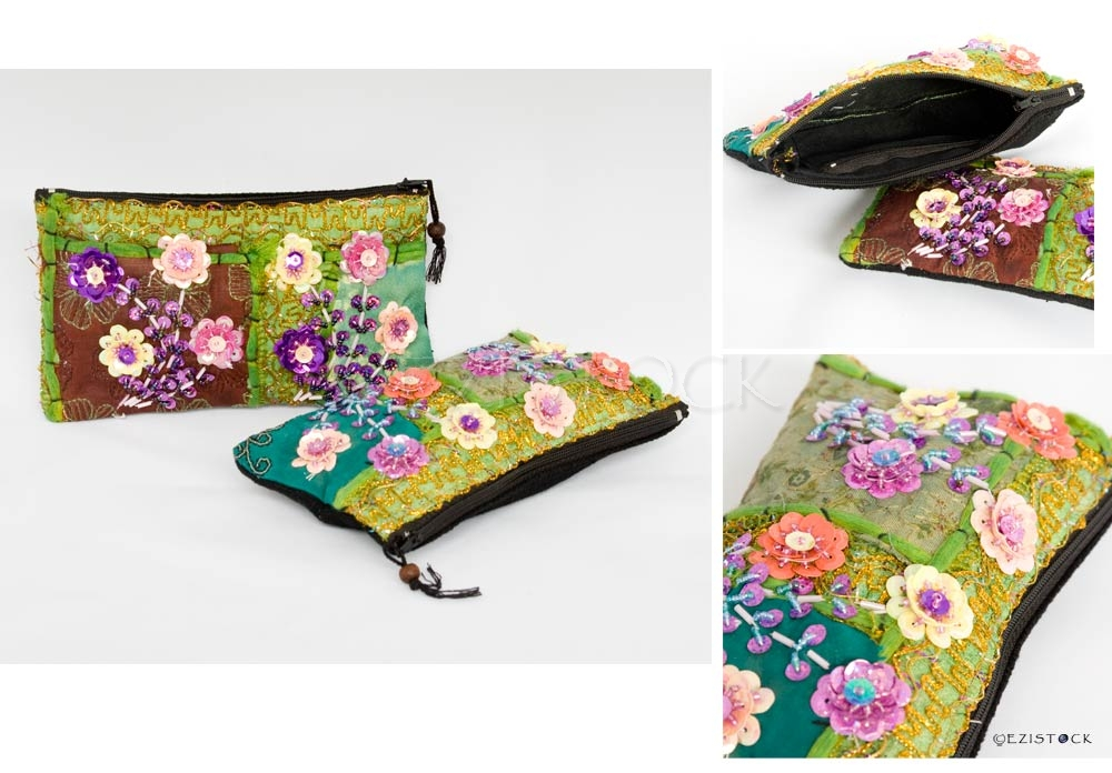 Cotton purse, 'Chiang Mai Flowers' (Set of 2) - Click Image to Close