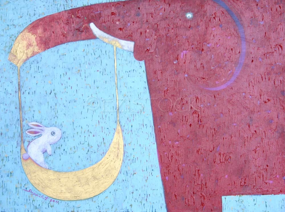 Acrylic on canvas, 'Moon Swing' - Click Image to Close