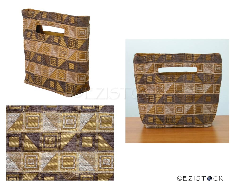 Cotton handbag, 'Cocoa Cubism' (small) - Click Image to Close