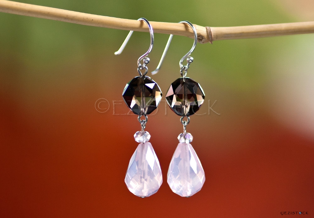Rose and smoky quartz earrings, 'Precious Love' - Click Image to Close