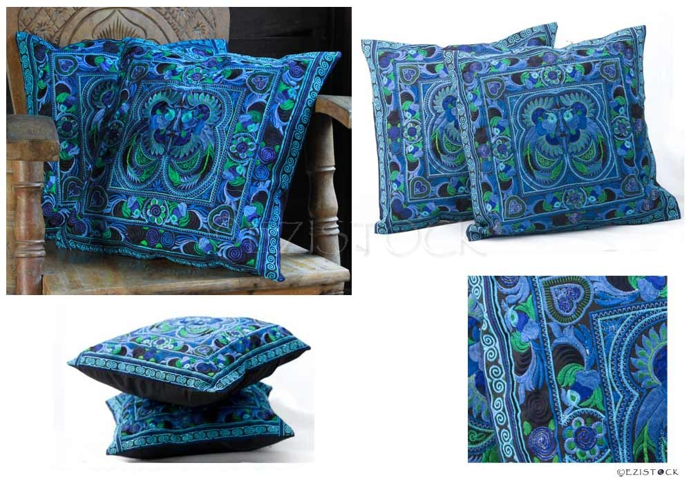 Ethnic cotton cushion covers, 'Blue Spirit' (pair) - Click Image to Close