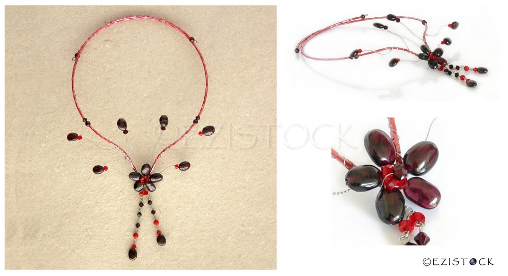 Garnet flower choker, 'Floral Dewdrops' - Click Image to Close