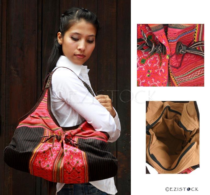 Leather and cotton shoulder bag, 'Ethnic Miracle' - Click Image to Close