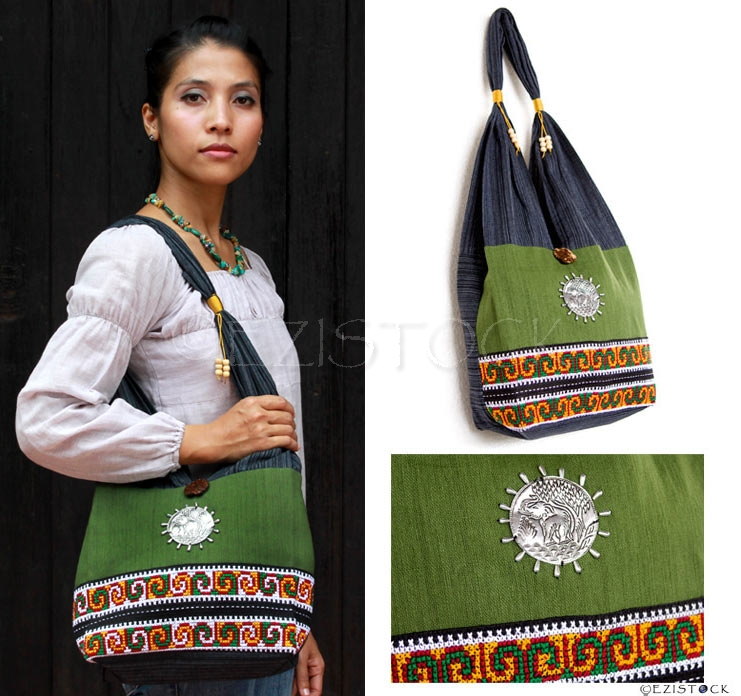 Cotton shoulder bag, 'Emerald Field' - Click Image to Close