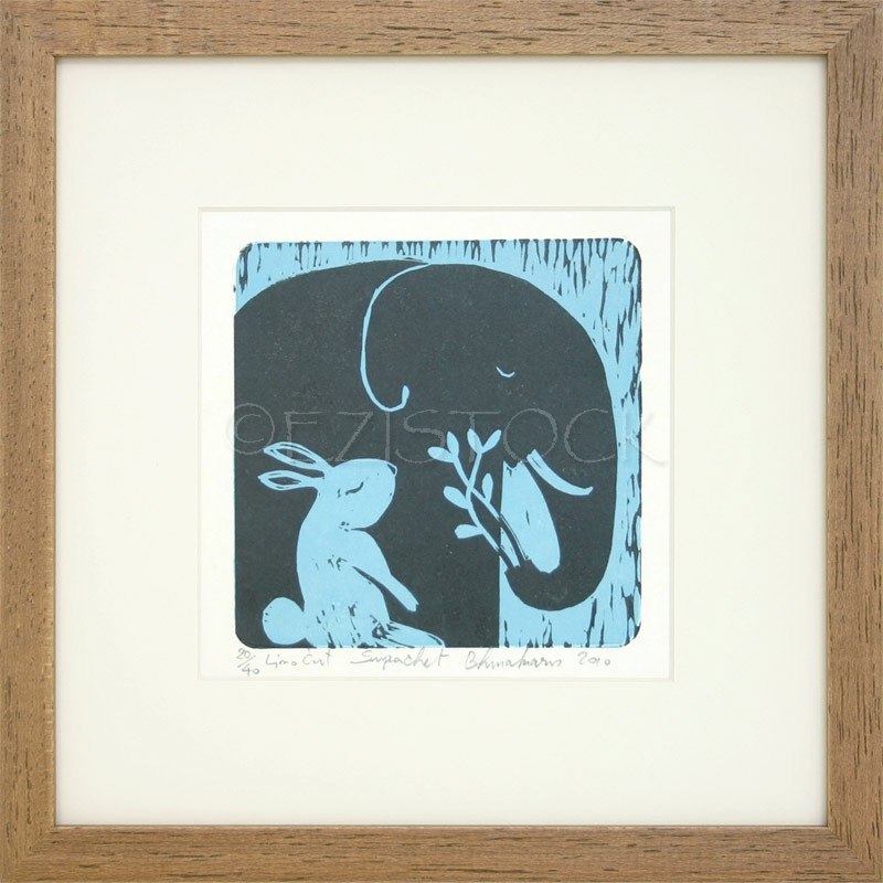 Linocut print, 'Forest Stories' - Click Image to Close