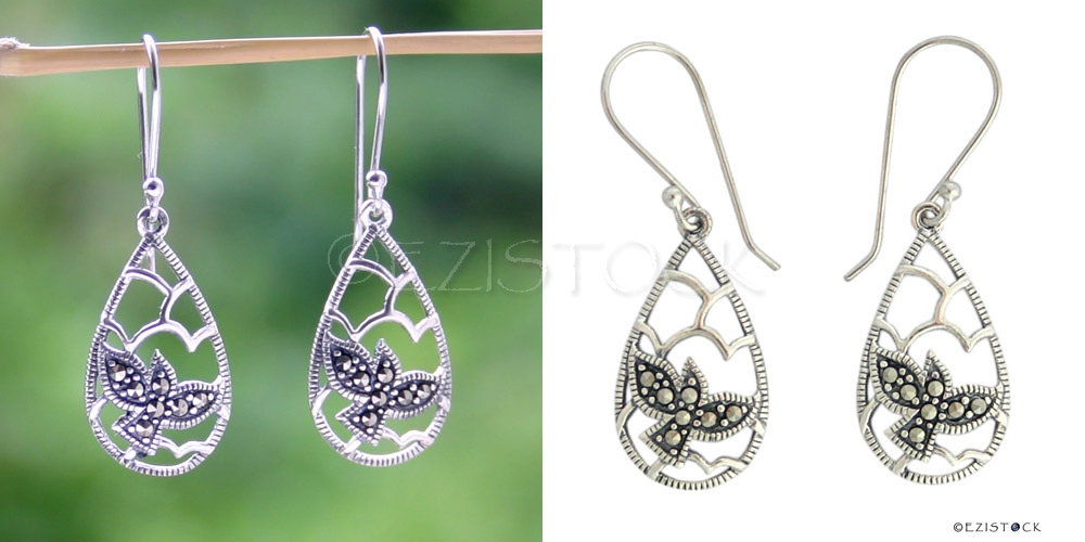 Silver and marcasite dangle earrings, 'Dove Flight' - Click Image to Close
