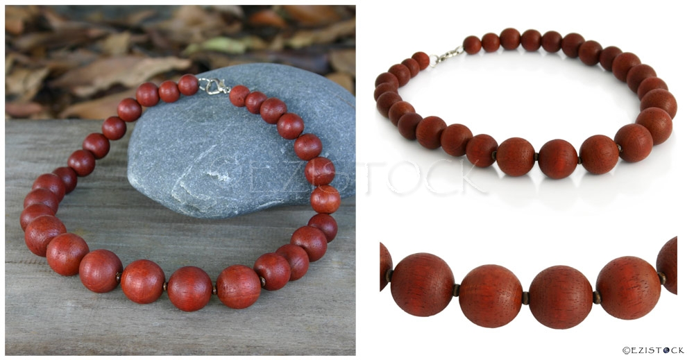 Kapok wood necklace, 'Brown Bubbles' - Click Image to Close