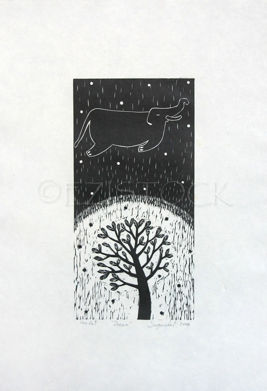 Linocut print, 'Dream' - Click Image to Close