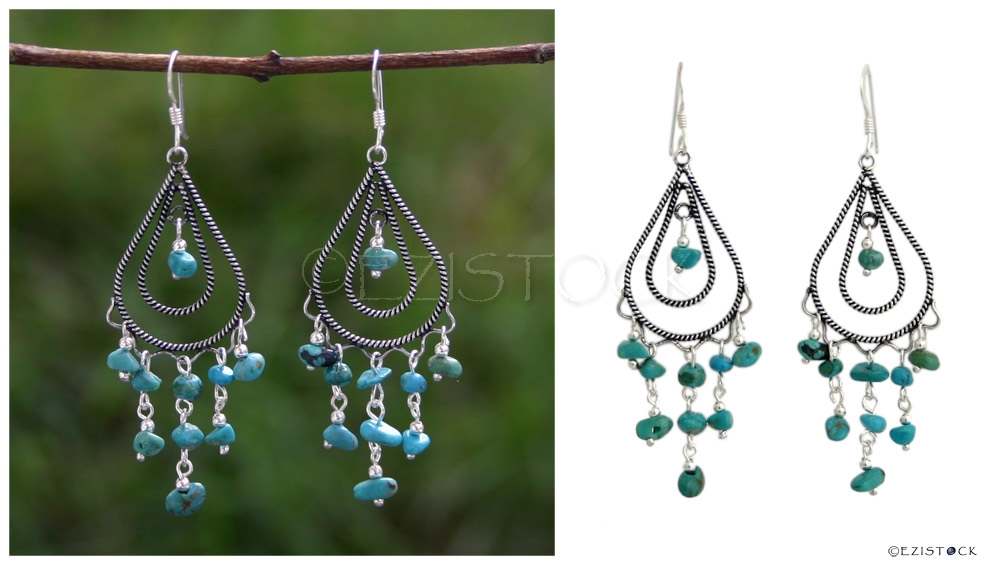 Sterling silver chandelier earrings, 'Turquoise Shower' - Click Image to Close