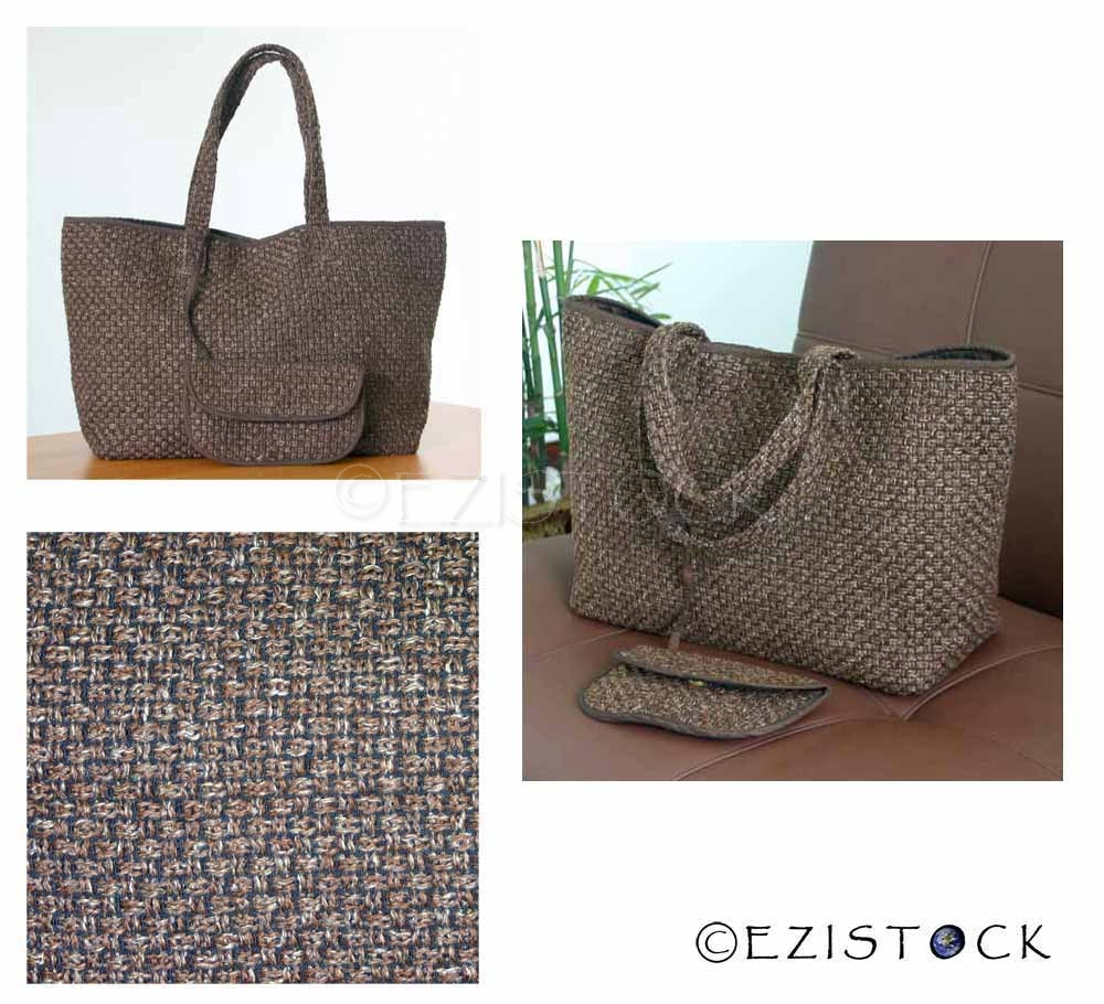 Cotton handbag and purse, 'Brown Mesh' - Click Image to Close