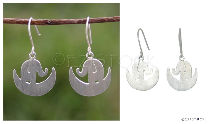 Sterling silver dangle earrings, 'Elephant Dream' - Click Image to Close