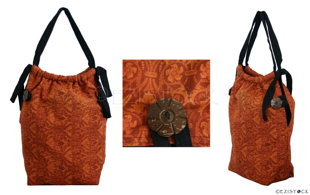 Cotton shoulder bag, 'Brown Regalia' - Click Image to Close
