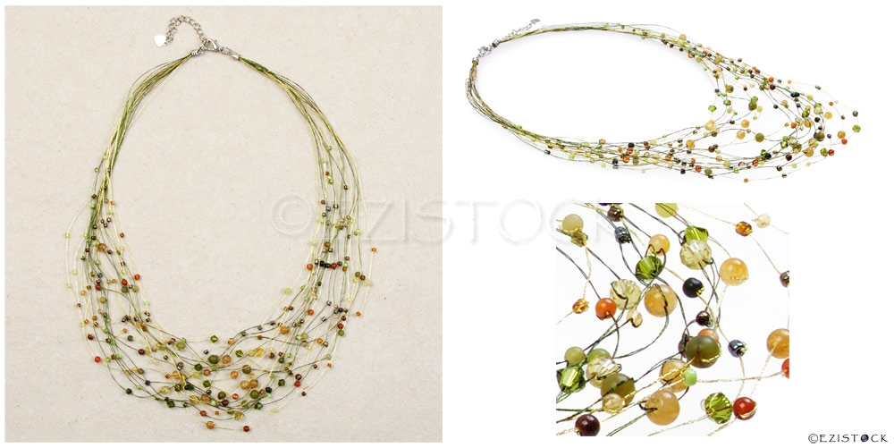 Jade and citrine necklace, 'Lime Web' - Click Image to Close