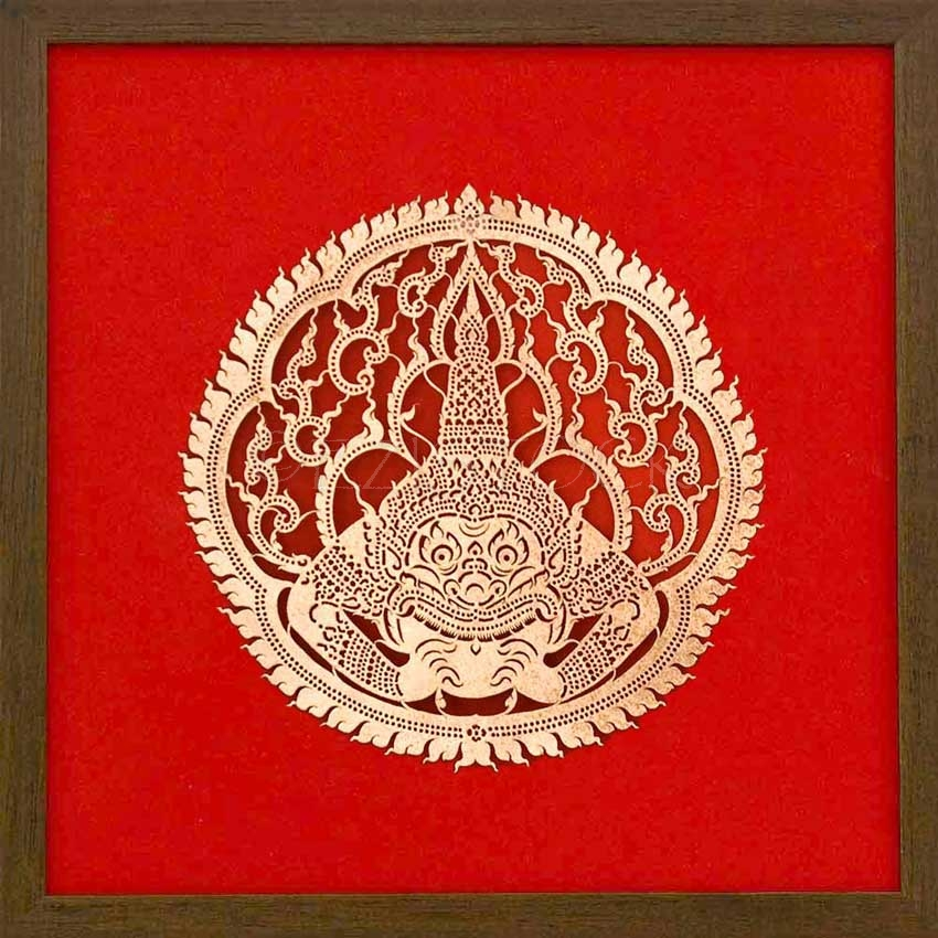Framed Leather Silhouette, 'Hanuman' - Click Image to Close