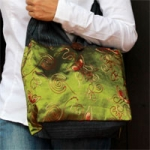 Cotton and polyester shoulder bag, 'Green Flutters' (small)