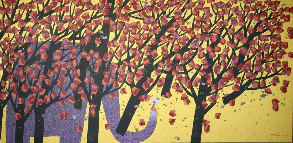 Acrylic on canvas, 'Flying Trees' - Click Image to Close