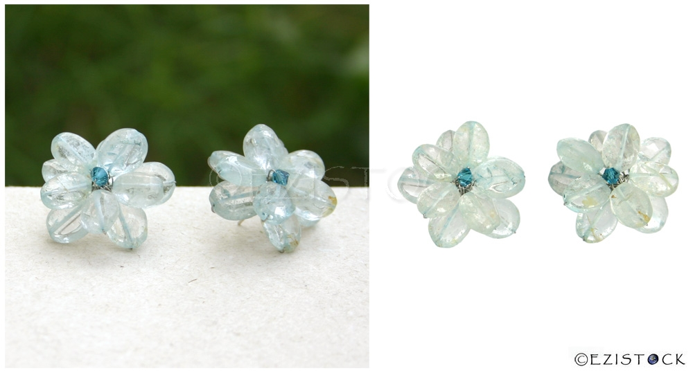 Topaz button earrings, 'Translucent Flowers' - Click Image to Close