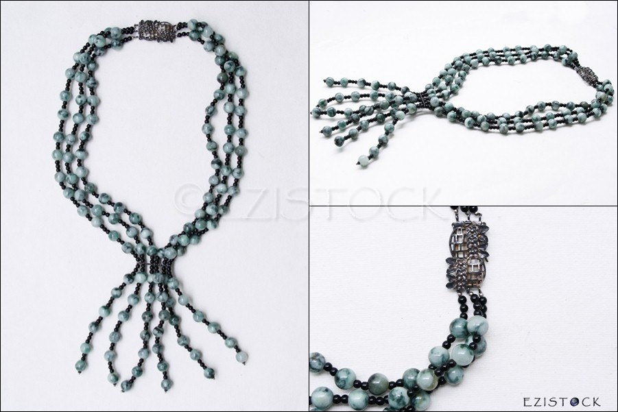 Jade and onyx necklace, 'Rain Forest' - Click Image to Close