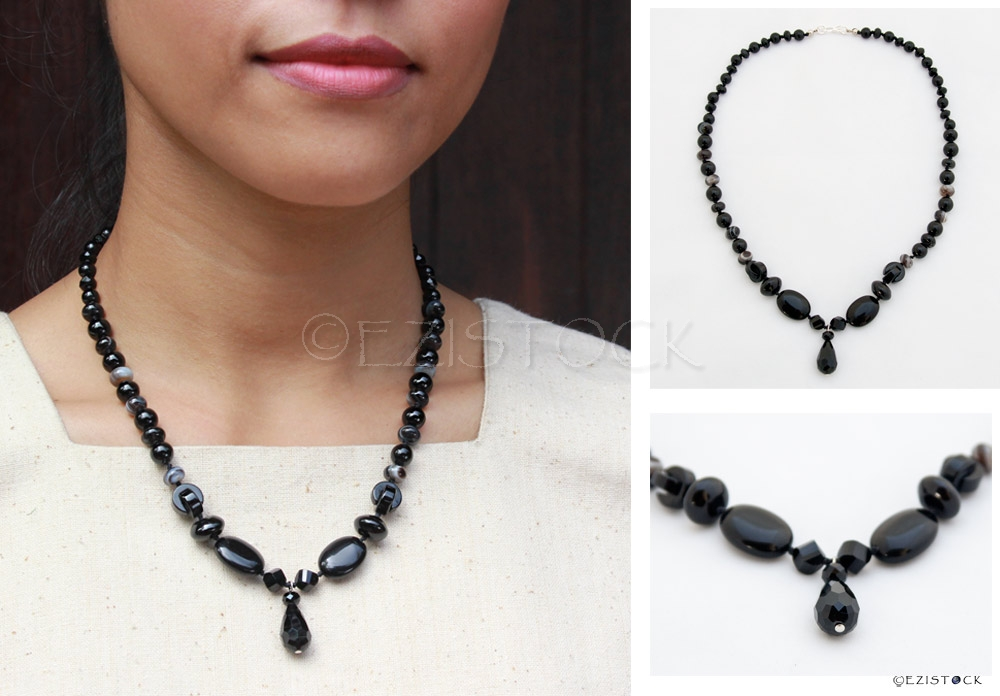Black onyx necklace, 'Black Drop' - Click Image to Close