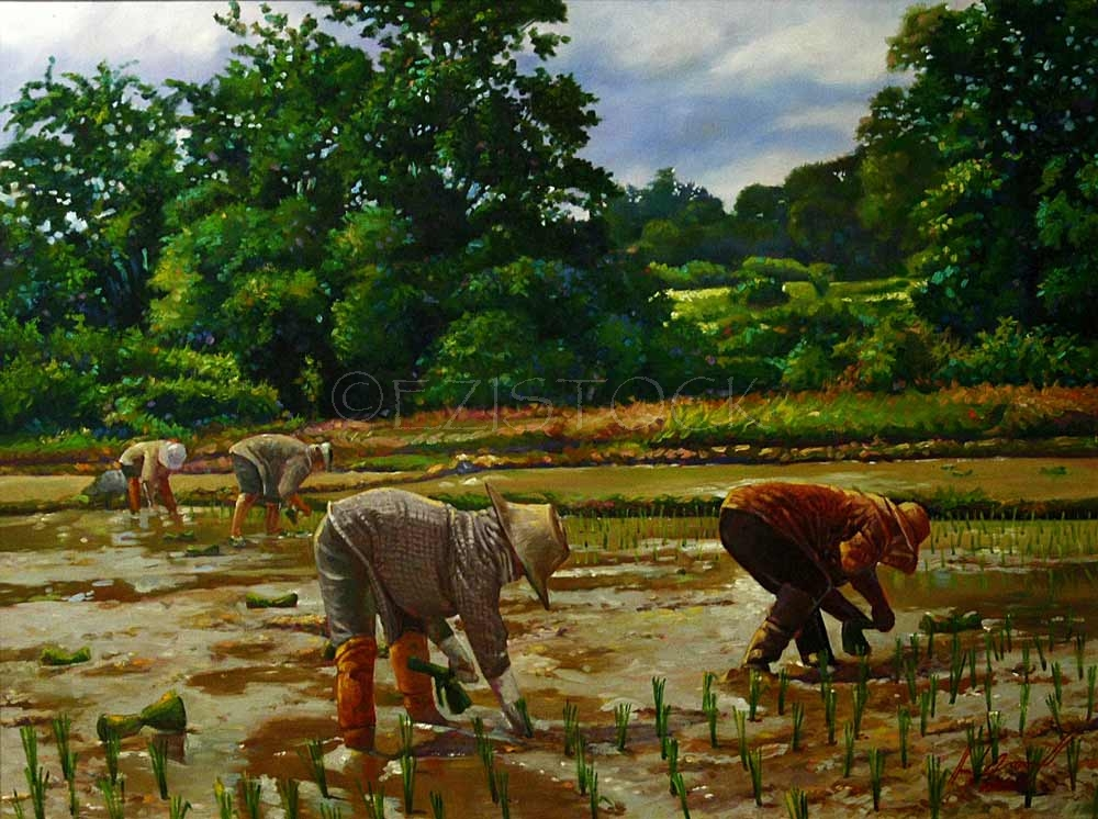 Oil on canvas, 'Thai farmer 1' - Click Image to Close