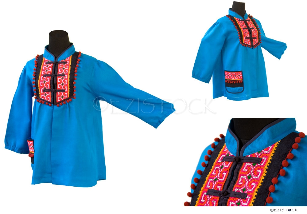 Linen and cotton tunic, 'Tribal Azure' - Click Image to Close