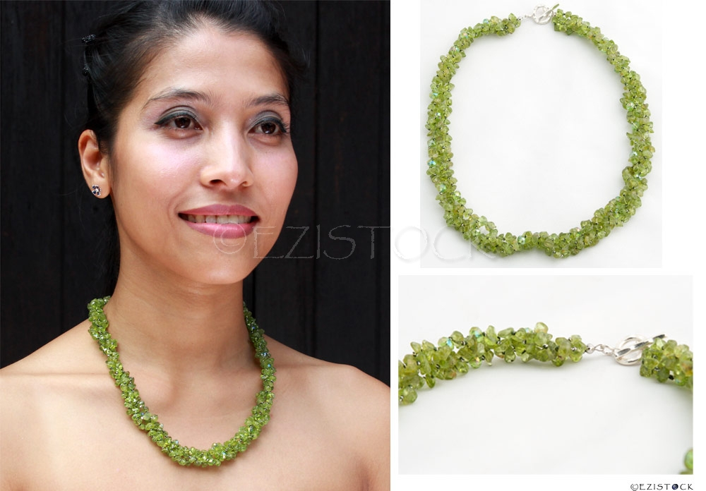Peridot and silver necklace, 'Orchid Fever' - Click Image to Close