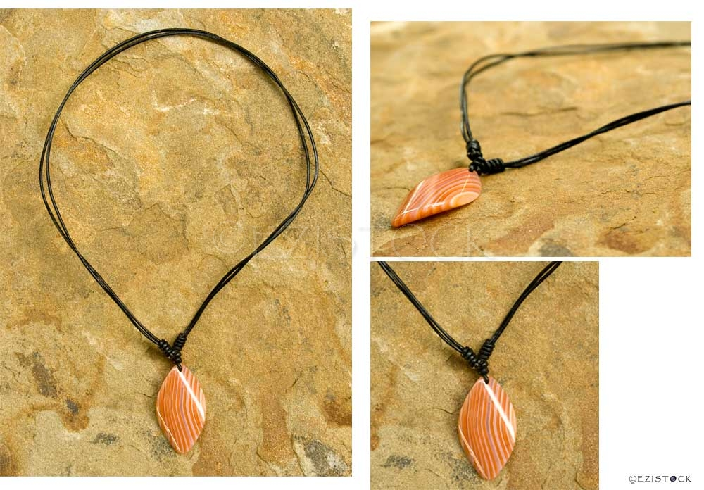 Carnelian and leather necklace, 'Orange Leaf' - Click Image to Close
